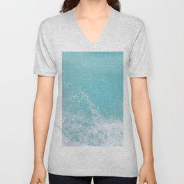 Fifty Shades of Blue Ocean Waves in Crete Island, Greece Unisex V-Neck