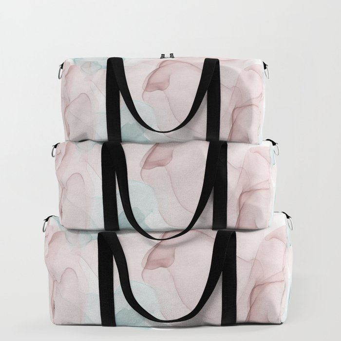 Blush and Blue Flowing Abstract Painting Duffle Bag
