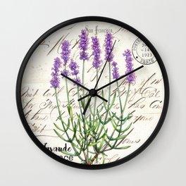 Lavender Antique Rustic Flowers Vintage Art Wall Clock
