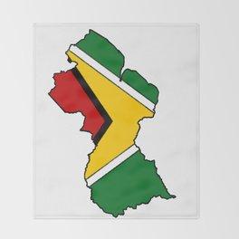 Guyana Map with Guyanese Flag Throw Blanket