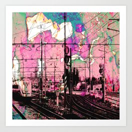 All About the Journey, Abstract Grunge Train Art Print