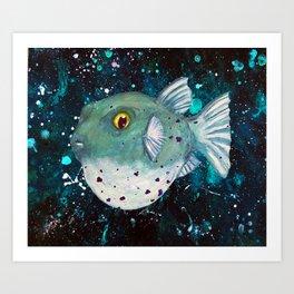 Friendly Green Fugu Redux Art Print