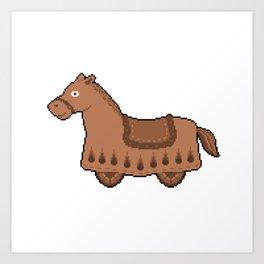 Pixel Drawing: Cabriolet horse Art Print