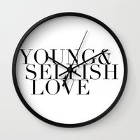 ysl Wall Clocks featuring YOUNG& SELFISH LOVE by COCO SAYS NONO