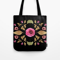 FLOWER COLLAGE N2 BLACK BACKGROUND Tote Bag