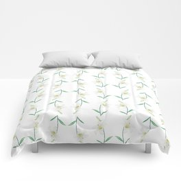 white lily watercolor Comforters