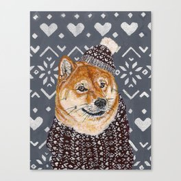 Shiba Inu in a  Hat and Scarf Canvas Print