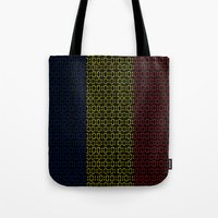 chad wys Tote Bags featuring digital Flag (Chad) by seb mcnulty
