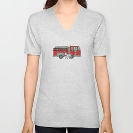 Fire Engine and Friend Unisex V-Neck