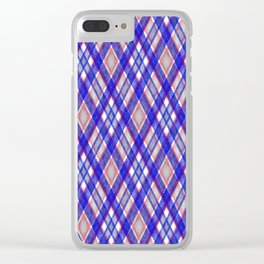 Blue, pink tartan plaid. Clear iPhone Case