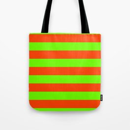 Bright Neon Green and Orange Horizontal Cabana Tent Stripes Tote Bag