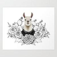 lama Art Prints featuring Lama by Melanie Blanchard