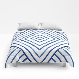 Watercolor lines pattern | Navy blue Comforters
