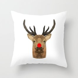 Polygon Rudolph | Abstract Triangle Art Work Throw Pillow