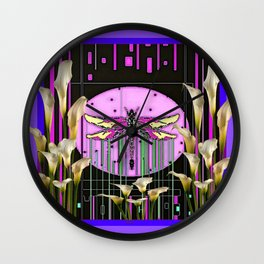 Purple Art Nouveau Calla Lilies Dragonfly Art Wall Clock