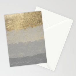 Geometrical ombre glacier gray gold watercolor Stationery Cards