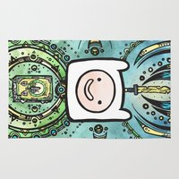 finn Area & Throw Rugs featuring Finn Mandala by Spectronium - Art by Pat McWain