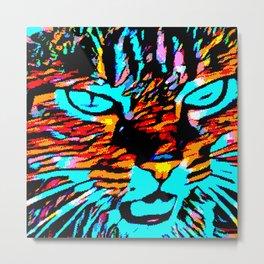 Nina the Wild Pixelated Cat Metal Print