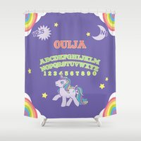 my little pony Shower Curtains featuring My Little Pony Ouija Board by Guts and Glitter