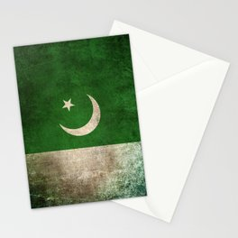 Old and Worn Distressed Vintage Flag of Pakistan Stationery Cards