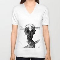 glitch V-neck T-shirts featuring glitch by Kristian Talley