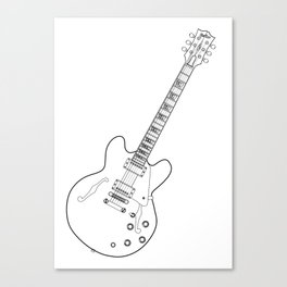 Semi Acoustic Line Drawing Canvas Print