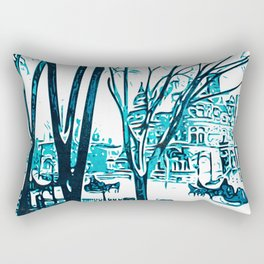 Urban winterscape with sleigh Rectangular Pillow