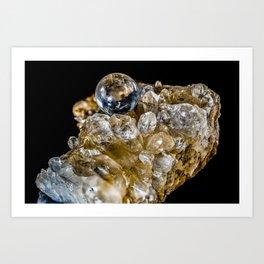 Crystal Ball Resting on quartz Crystals Art Print