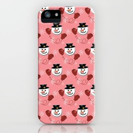 Holiday Snowman Pattern Red Background iPhone Case