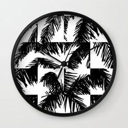 Palm Leaf Pattern Black Wall Clock