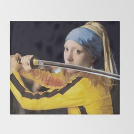 """Vermeer's """"Girl with a Pearl Earring"""" & Kill Bill Throw Blanket"""