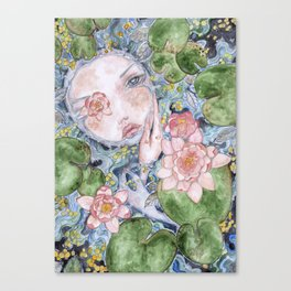 Watercolor doll in the water Canvas Print