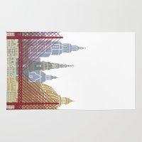 copenhagen Area & Throw Rugs featuring Copenhagen skyline poster by Paulrommer