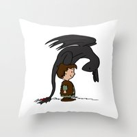 hiccup Throw Pillows featuring He's Your Dragon, Hiccup by mikaelak