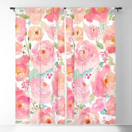 Watercolor Peonies Summer Bouquet Blackout Curtain