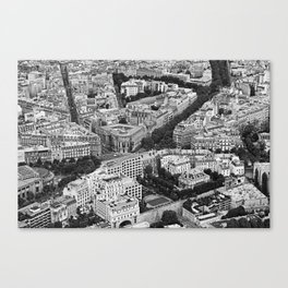 Black and White Paris France Aerial View Canvas Print