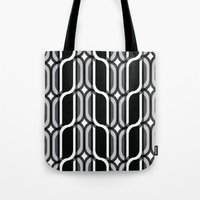 bauhaus Tote Bags featuring Bauhaus Type Black and White Art by Addison Barker