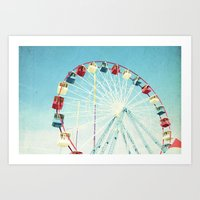 ferris wheel Art Prints featuring Ferris Wheel by Mina Teslaru