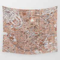 milan Wall Tapestries featuring Vintage Map of Milan Italy (1913) by BravuraMedia