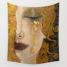 Golden Tears (Freya's Heartache) portrait painting by Gustav Klimt Wall Tapestry