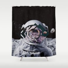 Spaceman oh spaceman, come rescue me (teal) Shower Curtain
