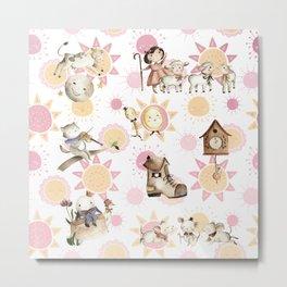 Pink Nursery Rhyme pattern Metal Print