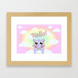 Cat Pastel Hello Framed Art Print