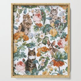 Cat and Floral Pattern III Serving Tray