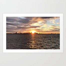 sunset over Boston Art Print