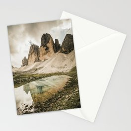 The famous Three Peaks reflecting in a clear Mountain Lake Stationery Cards