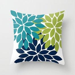 Bold Colorful Teal Green Navy Dahlia Flower Burst Petals Throw Pillow