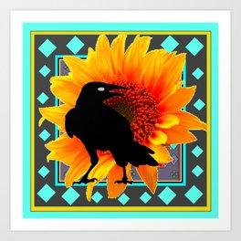 WESTERN CROW SUNFLOWER TURQUOISE-GREY  ART Art Print
