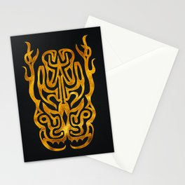 Tribal Tattoo Style Daemon Design - Gold & Black Stationery Cards