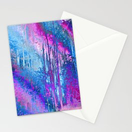 Psychedelic Forest (blue-pink) Stationery Cards